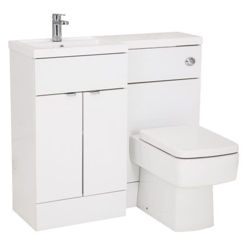 Elite White Gloss 1000mm Combination Furniture Pack - Left Hand